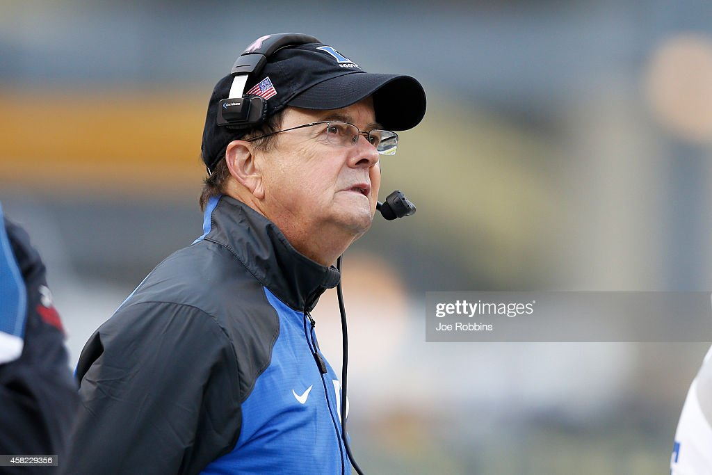 Head coach <a gi-track='captionPersonalityLinkClicked' href=/galleries/search?phrase=David+Cutcliffe&family=editorial&specificpeople=3265998 ng-click='$event.stopPropagation()'>David Cutcliffe</a> of the Duke Blue Devils looks on in the first half of the game against the Pittsburgh Panthers at Heinz Field on November 1, 2014 in Pittsburgh, Pennsylvania.
