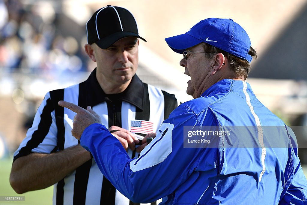 Head Coach <a gi-track='captionPersonalityLinkClicked' href=/galleries/search?phrase=David+Cutcliffe&family=editorial&specificpeople=3265998 ng-click='$event.stopPropagation()'>David Cutcliffe</a> of the Duke Blue Devils talks to a referee during a game against the Pittsburgh Panthers at Wallace Wade Stadium on November 14, 2015 in Durham, North Carolina. Pittsburgh defeated Duke 31-13.