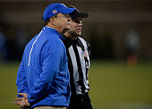 Head coach David Cutcliffe of the Duke Blue Devils waits for the ruling on whether or not the Miami Hurricanes final play was a touchdown during...