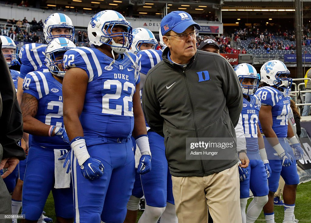 Head coach <a gi-track='captionPersonalityLinkClicked' href=/galleries/search?phrase=David+Cutcliffe&family=editorial&specificpeople=3265998 ng-click='$event.stopPropagation()'>David Cutcliffe</a> of the Duke Blue Devils waits to lead his team on to the field to take on the Indiana Hoosiers in the New Era Pinstripe Bowl at Yankee Stadium on December 26, 2015 in the Bronx borough of New York City.