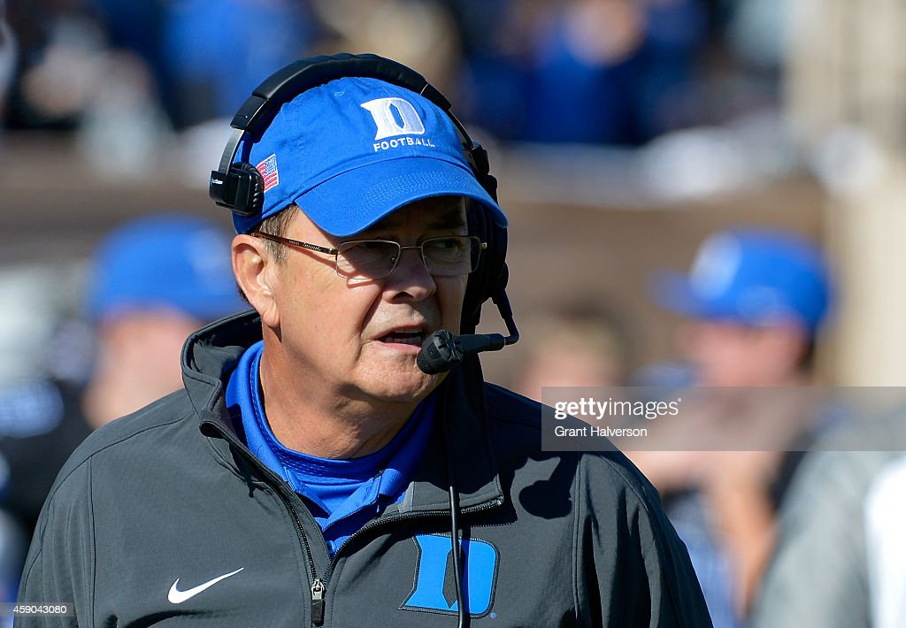 Head coach <a gi-track='captionPersonalityLinkClicked' href=/galleries/search?phrase=David+Cutcliffe&family=editorial&specificpeople=3265998 ng-click='$event.stopPropagation()'>David Cutcliffe</a> of the Duke Blue Devils watches his team play against the Virginia Tech Hokies during their game at Wallace Wade Stadium Stadium on November 15, 2014 in Chapel Hill, North Carolina. Virginia Tech won 17-16.