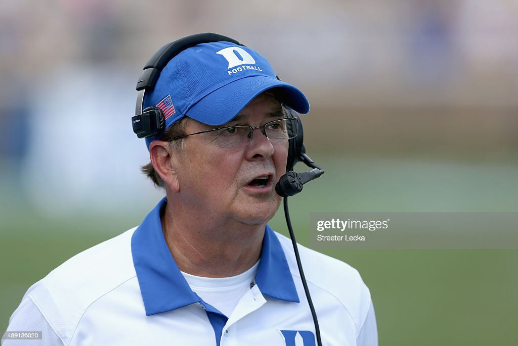 Head coach <a gi-track='captionPersonalityLinkClicked' href=/galleries/search?phrase=David+Cutcliffe&family=editorial&specificpeople=3265998 ng-click='$event.stopPropagation()'>David Cutcliffe</a> of the Duke Blue Devils watches on against the Northwestern Wildcats during their game at Wallace Wade Stadium on September 19, 2015 in Durham, North Carolina.