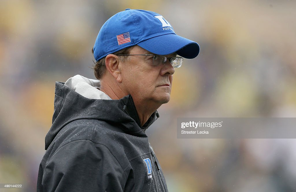 Head coach <a gi-track='captionPersonalityLinkClicked' href=/galleries/search?phrase=David+Cutcliffe&family=editorial&specificpeople=3265998 ng-click='$event.stopPropagation()'>David Cutcliffe</a> of the Duke Blue Devils watches on against the Georgia Tech Yellow Jackets during their game at Wallace Wade Stadium on September 26, 2015 in Durham, North Carolina.