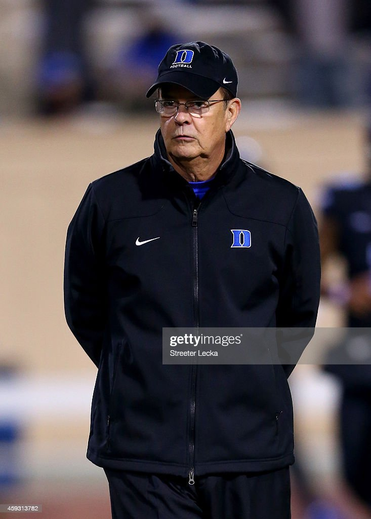 Head coach <a gi-track='captionPersonalityLinkClicked' href=/galleries/search?phrase=David+Cutcliffe&family=editorial&specificpeople=3265998 ng-click='$event.stopPropagation()'>David Cutcliffe</a> of the Duke Blue Devils watches on before their game against the North Carolina Tar Heels at Wallace Wade Stadium on November 20, 2014 in Durham, North Carolina.
