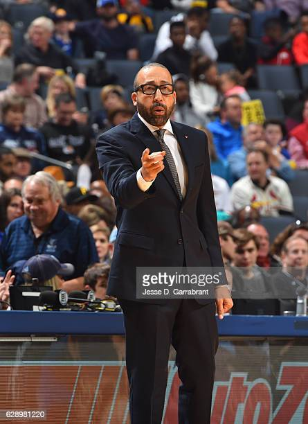 Head Coach David Fizdale of the Memphis Grizzlies calls a play against the Golden State Warriors on December 10 2016 at FedEx Forum in Memphis...