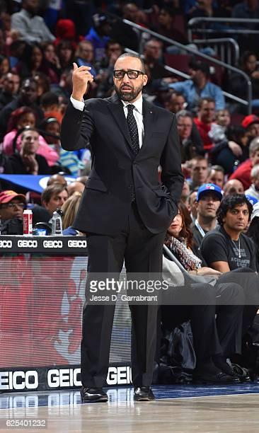 Head Coach David Fizdale of the Memphis Grizzlies looks on against the Philadelphia 76ers at Wells Fargo Center on November 23 2016 in Philadelphia...