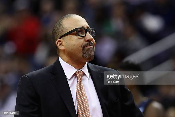 Head coach David Fizdale of the Memphis Grizzlies looks on against the Washington Wizards at Verizon Center on January 18 2017 in Washington DC NOTE...