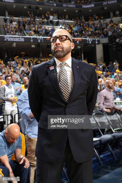 Head Coach David Fizdale of the Memphis Grizzlies looks on before Game Three of the Western Conference Quarterfinals of the 2017 NBA Playoffs on...
