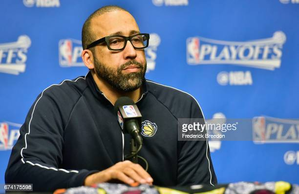 Head coach David Fizdale of the Memphis Grizzlies speaks to the media prior to Game Six of the Western Conference Quarterfinals game against the San...
