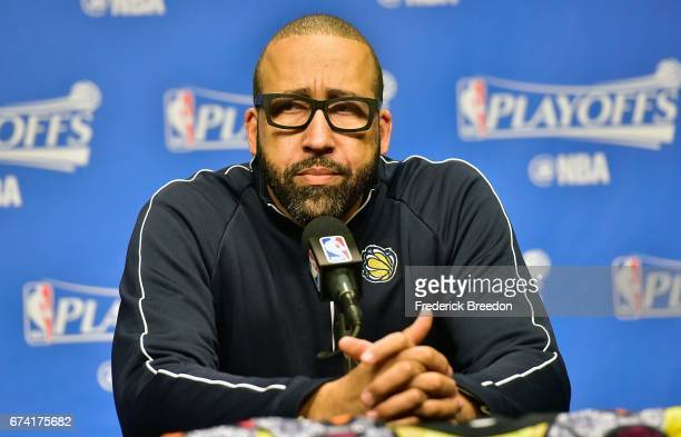 Head coach David Fizdale of the Memphis Grizzlies speaks to the media prior to Game Six the Western Conference Quarterfinals game against the San...