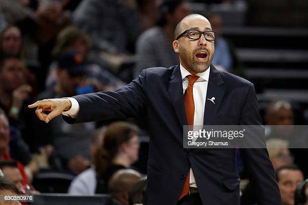 Head coach David Fizdale of the Memphis Grizzlies yells from the bench while playing the Detroit Pistons at the Palace of Auburn Hills on December 21...