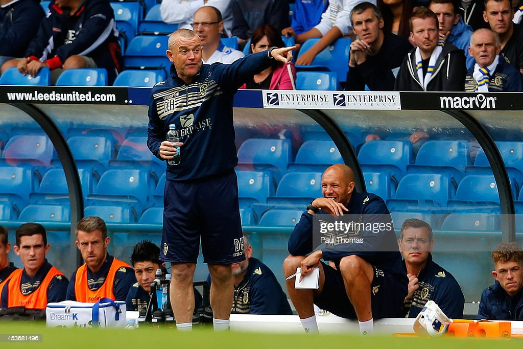 Head coach David Hockaday of Leeds gestures during the Sky Bet Championship match between Leeds United and Middlesbrough at Elland Road on August 16, 2014 in Leeds, England.