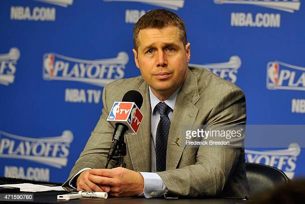 Head coach David Joerger of the Memphis Grizzlies addresses the media after a 9993 victory over the Portland Trailblazers in Game 5 of the first...