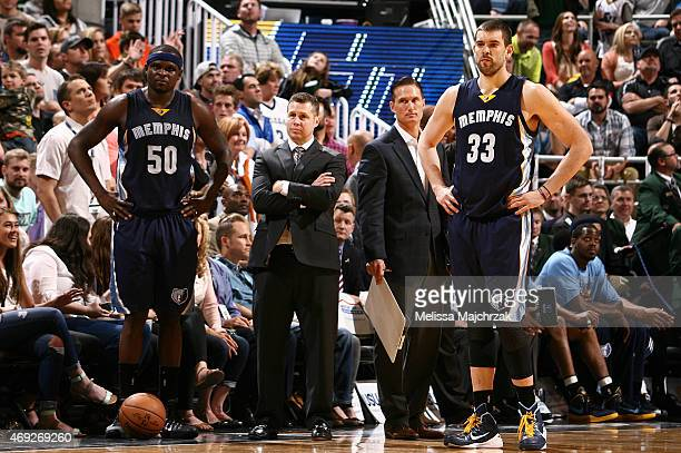 Head coach David Joerger of the Memphis Grizzlies during the game against the Utah Jazz on April 10 2015 at EnergySolutions Arena in Salt Lake City...