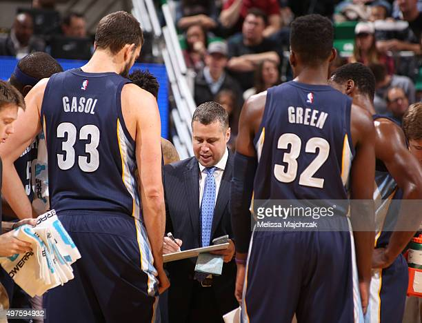 Head coach David Joerger of the Memphis Grizzlies during the game against the Utah Jazz at vivint SmartHome Arena on November 07 2015 in Salt Lake...