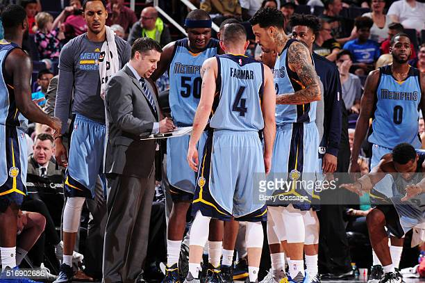 Head coach David Joerger of the Memphis Grizzlies during the game against the Phoenix Suns on March 21 2016 at Talking Stick Resort Arena in Phoenix...