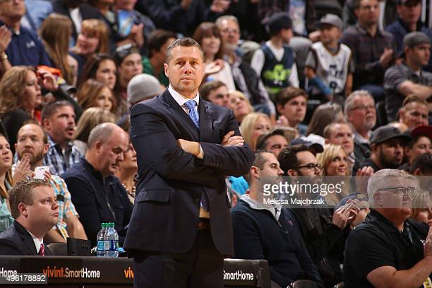 Head Coach David Joerger of the Memphis Grizzlies looks on during the game against the Utah Jazz on November 7 2015 at Vivint Smart Home Arena in...