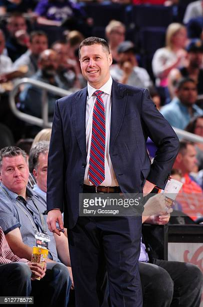 Head Coach David Joerger of the Memphis Grizzlies looks on during the game against the Phoenix Suns on February 27 2016 at Talking Stick Resort Arena...