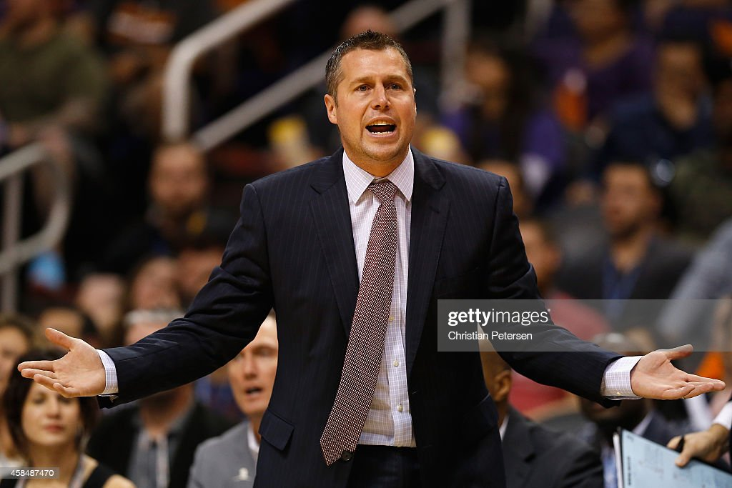 Head coach <a gi-track='captionPersonalityLinkClicked' href=/galleries/search?phrase=David+Joerger&family=editorial&specificpeople=4024956 ng-click='$event.stopPropagation()'>David Joerger</a> of the Memphis Grizzlies reacts during the NBA game against the Phoenix Suns at US Airways Center on November 5, 2014 in Phoenix, Arizona. The Grizzlies defeated the Suns 102-91.