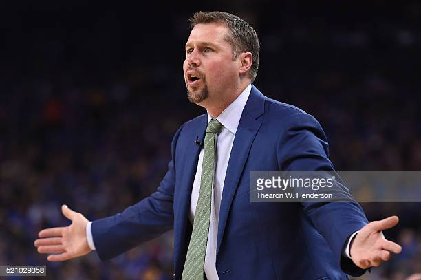 Head coach David Joerger of the Memphis Grizzlies reacts in the first half against the Golden State Warriors during the game at ORACLE Arena on April...