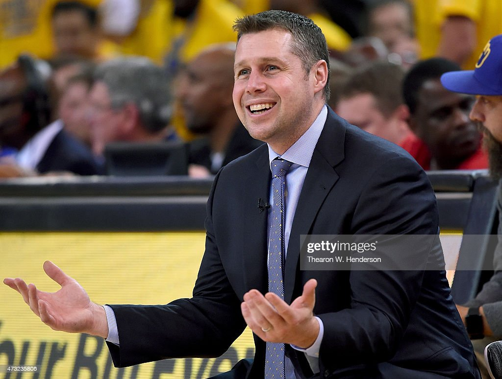 Head coach <a gi-track='captionPersonalityLinkClicked' href=/galleries/search?phrase=David+Joerger&family=editorial&specificpeople=4024956 ng-click='$event.stopPropagation()'>David Joerger</a> of the Memphis Grizzlies reacts to a call against his team while playing the Golden State Warriors during Game Five of the Western Conference Semifinals of the NBA Playoffs at ORACLE Arena on May 13, 2015 in Oakland, California.