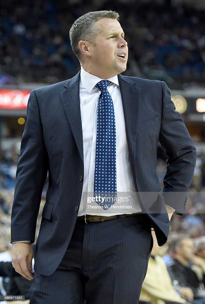 Head coach <a gi-track='captionPersonalityLinkClicked' href=/galleries/search?phrase=David+Joerger&family=editorial&specificpeople=4024956 ng-click='$event.stopPropagation()'>David Joerger</a> of the Memphis Grizzlies reacts to a call against the Sacramento Kings at Sleep Train Arena on November 3, 2015 in Sacramento, California.
