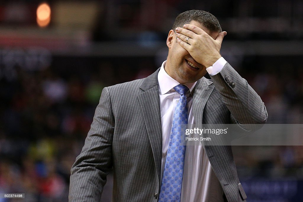 Head coach <a gi-track='captionPersonalityLinkClicked' href=/galleries/search?phrase=David+Joerger&family=editorial&specificpeople=4024956 ng-click='$event.stopPropagation()'>David Joerger</a> of the Memphis Grizzlies reacts to a call against the Washington Wizards in the second half at Verizon Center on December 23, 2015 in Washington, DC. The Washington Wizards won, 100-91.