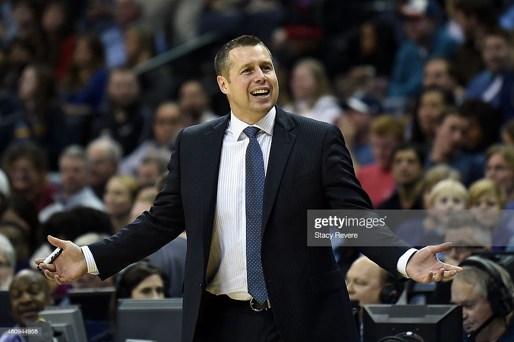 Head coach <a gi-track='captionPersonalityLinkClicked' href=/galleries/search?phrase=David+Joerger&family=editorial&specificpeople=4024956 ng-click='$event.stopPropagation()'>David Joerger</a> of the Memphis Grizzlies reacts to an officials call during a game against the San Antonio Spurs at the FedExForum on December 30, 2014 in Memphis, Tennessee.