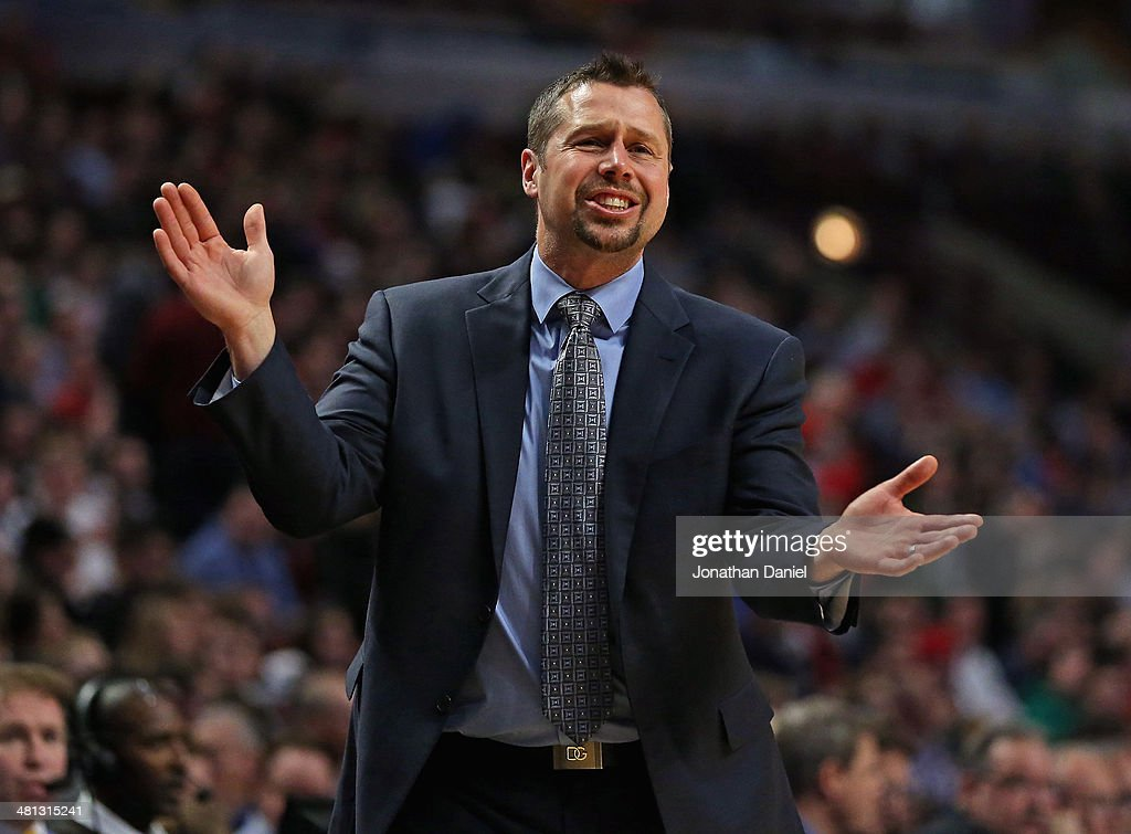 Head coach <a gi-track='captionPersonalityLinkClicked' href=/galleries/search?phrase=David+Joerger&family=editorial&specificpeople=4024956 ng-click='$event.stopPropagation()'>David Joerger</a> of the Memphis Grizzlies reacts top a foul call against the Chicago Bulls at the United Center on March 7, 2014 in Chicago, Illinois. The Grizzlies defeated the Bulls 85-77.