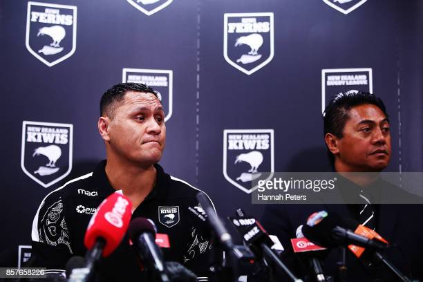 Head coach David Kidwell and selector Tawera Nikau speak to the media during the New Zealand Kiwis Rugby League World Cup Squad Announcement at Rugby...