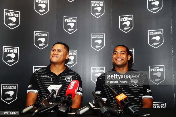 Head coach David Kidwell announces new Kiwis captain Adam Blair during a New Zealand Rugby League media opportunity at Rugby League House on May 28...