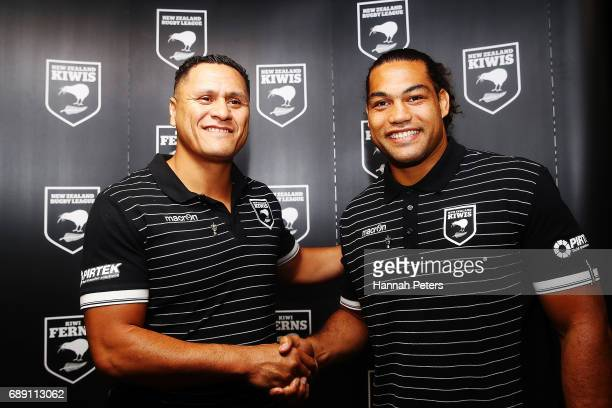 Head coach David Kidwell shakes hands with new Kiwis captain Adam Blair during a New Zealand Rugby League media opportunity at Rugby League House on...