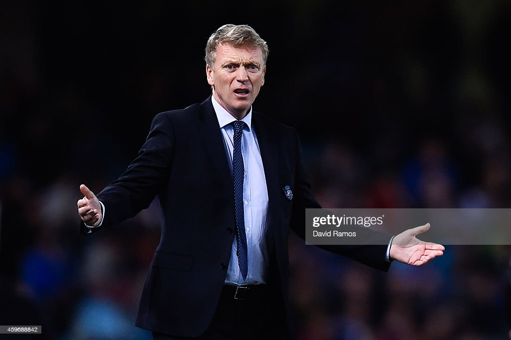 Head coach <a gi-track='captionPersonalityLinkClicked' href=/galleries/search?phrase=David+Moyes&family=editorial&specificpeople=215482 ng-click='$event.stopPropagation()'>David Moyes</a> of Real Sociedad reacts during the La Liga match between Real Socided and Elche FC at Estadio Anoeta on November 28, 2014 in San Sebastian, Spain.