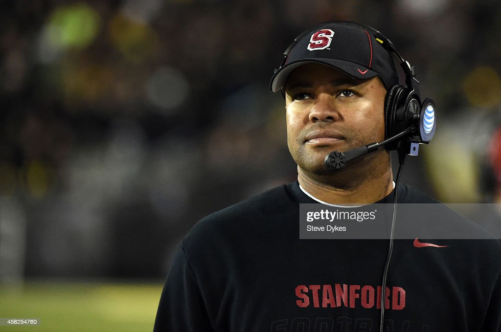 Head coach David Shaw looks up at the scoreboard during the fourth quarter of the game against the Oregon Ducks at Autzen Stadium on November 1 2014...