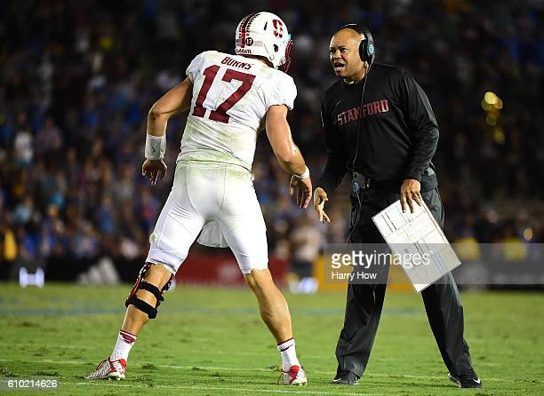 Head coach David Shaw of the Stanford Cardinal calls a play to Ryan Burns leading to a touchdown to take a 1513 lead with less than a minute...