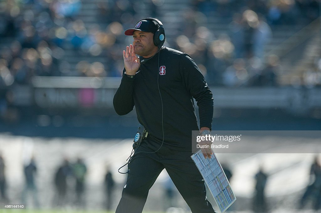 Head Coach David Shaw of the Stanford Cardinal calls from the sideline during a game against the Colorado Buffaloes at Folsom Field on November 7, 2015 in Boulder, Colorado.