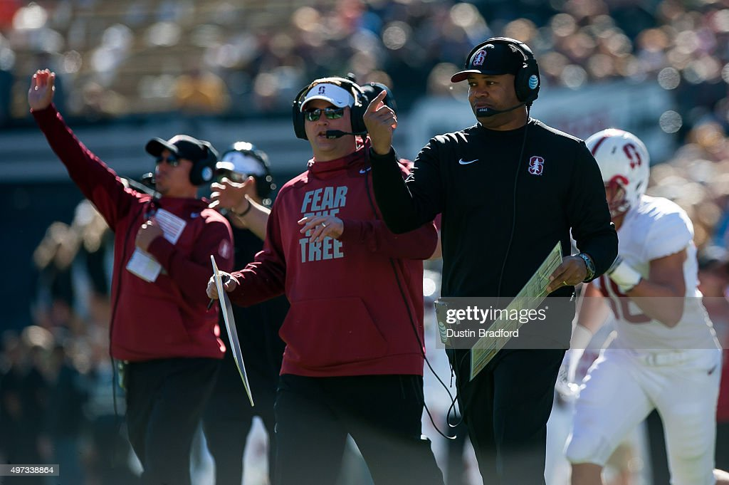 Head coach David Shaw of the Stanford Cardinal calls from the sideline during a game against the Colorado Buffaloes at Folsom Field on November 7...