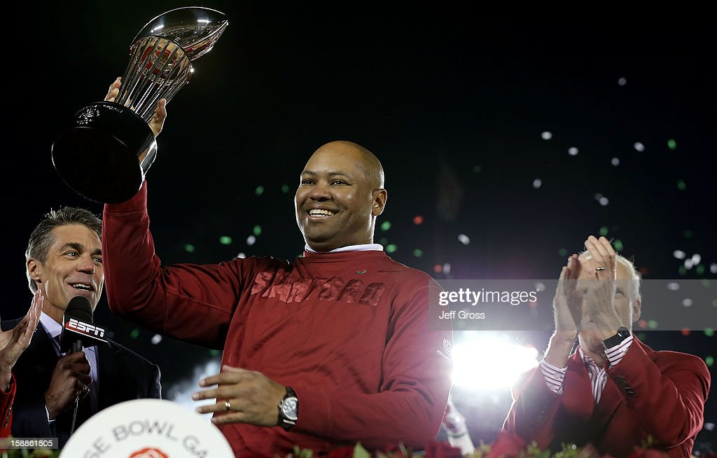 Head coach David Shaw of the Stanford Cardinal celebrates after the Cardinal defeat the Wisconsin Badgers 20-14 in the 99th Rose Bowl Game Presented by Vizio on January 1, 2013 at the Rose Bowl in Pasadena, California.