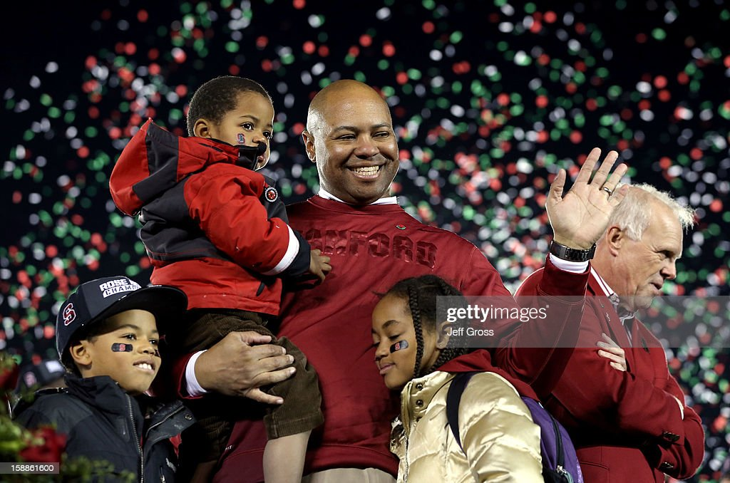 Head coach David Shaw of the Stanford Cardinal celebrates with his children Keegan, Carter and Gavin after the Cardinal defeated the Wisconsin Badgers 20-14 in the 99th Rose Bowl Game Presented by Vizio on January 1, 2013 at the Rose Bowl in Pasadena, California.