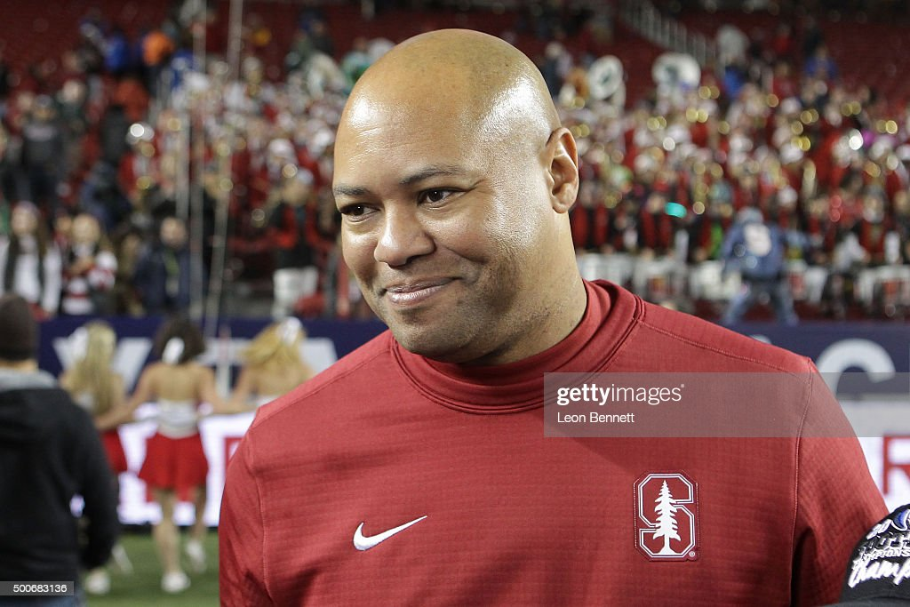 David Shaw Head Coach of the Stanford Cardinals during a 41-22 Cardinal win over the USC Trojans at the PAC-12 Championship game at Levi's Stadium on December 5, 2015 in Santa Clara, California.