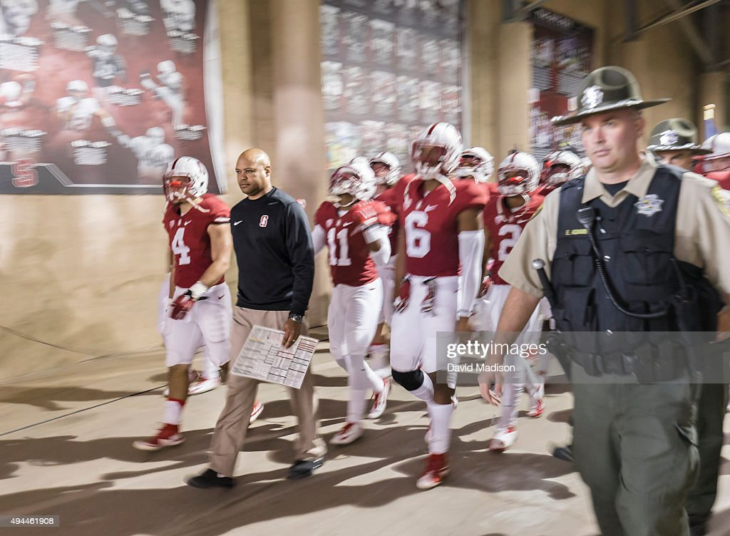 Head Coach <a gi-track='captionPersonalityLinkClicked' href=/galleries/search?phrase=David+Shaw+-+Amerikaans+football+coach&family=editorial&specificpeople=8769878 ng-click='$event.stopPropagation()'>David Shaw</a> of the Stanford Cardinal leads his team into the stadium prior to a PAC-12 football game against the UCLA Bruins played on October 15, 2015 at Stanford Stadium on the campus of Stanford University in Palo Alto, California.
