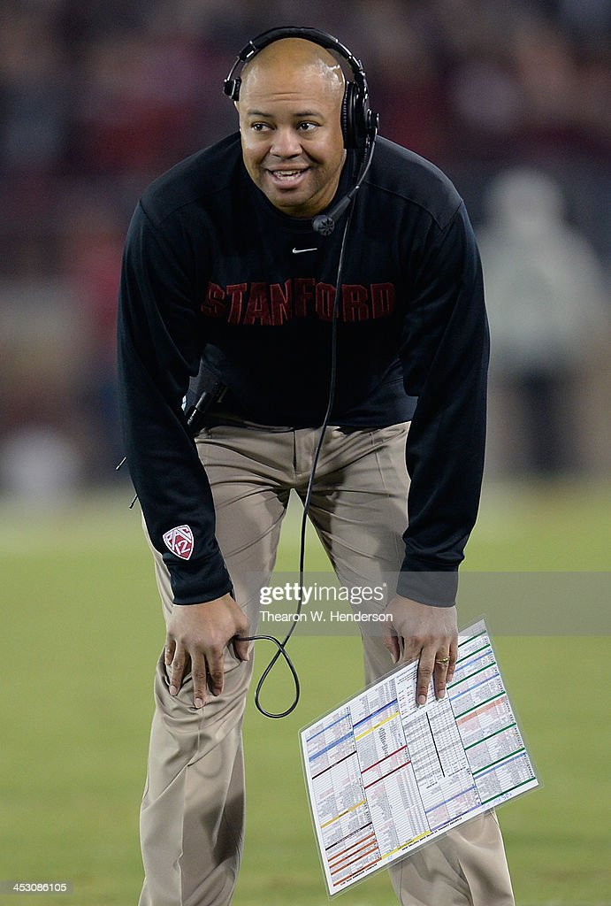 Head Coach David Shaw of the Stanford Cardinal looks on against the Notre Dame Fighting Irish during the third quarter at Stanford Stadium on...