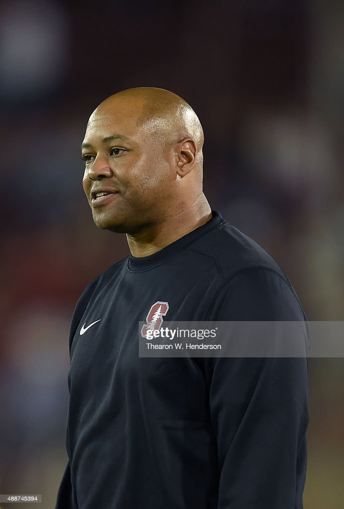 Head coach <a gi-track='captionPersonalityLinkClicked' href=/galleries/search?phrase=David+Shaw+-+American+Football+Coach&family=editorial&specificpeople=8769878 ng-click='$event.stopPropagation()'>David Shaw</a> of the Stanford Cardinal looks on from the sidelines in the fouth quarter against the UCF Knights at Stanford Stadium on September 12, 2015 in Palo Alto, California. Stanford won the game 31-7.
