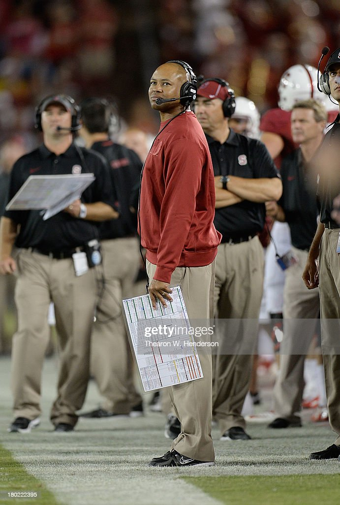 Head Coach David Shaw of the Stanford Cardinal looks up at the score board during the third quarter against the San Jose State Spartans at Stanford...