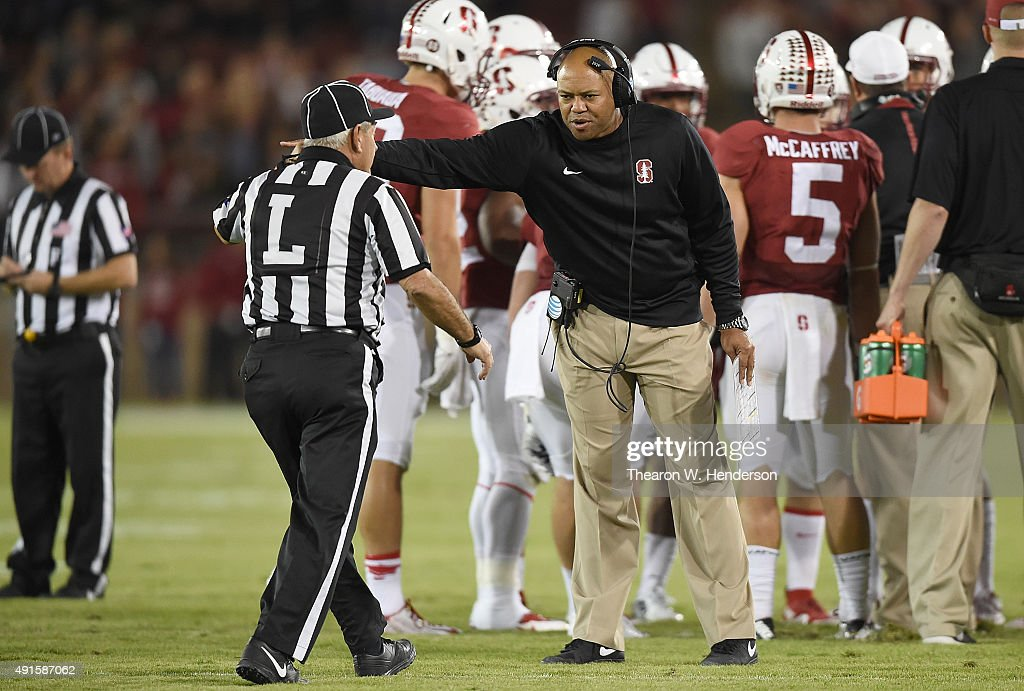 Head coach <a gi-track='captionPersonalityLinkClicked' href=/galleries/search?phrase=David+Shaw+-+American+Football+Coach&family=editorial&specificpeople=8769878 ng-click='$event.stopPropagation()'>David Shaw</a> of the Stanford Cardinal reacts after the Arizona Wildcats scored a touchdown during the third quarter of an NCAA football game at Stanford Stadium on October 3, 2015 in Palo Alto, California.
