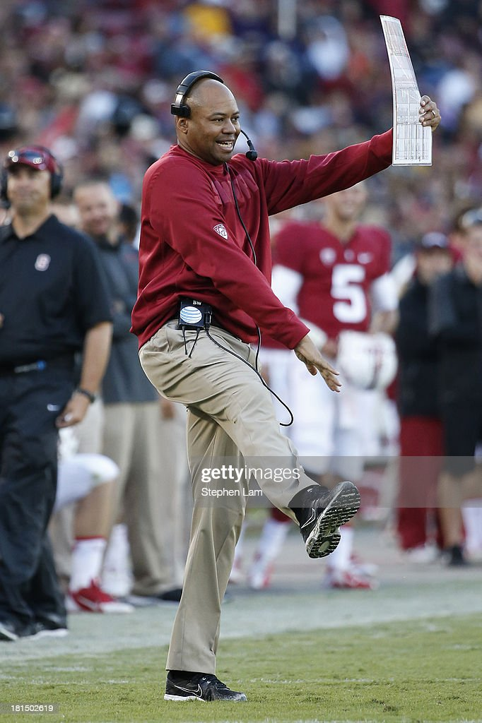 Head coach David Shaw of the Stanford Cardinal reacts from the sideline during the third quarter of his game against the Arizona State Sun Devils at Stanford Stadium on September 21, 2013 in Stanford, California. The Cardinals defeated the Sun Devils 42-28.