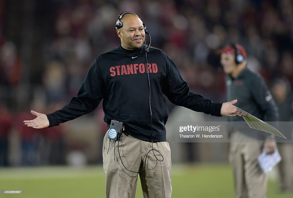 Head Coach <a gi-track='captionPersonalityLinkClicked' href=/galleries/search?phrase=David+Shaw+-+American+Football+Coach&family=editorial&specificpeople=8769878 ng-click='$event.stopPropagation()'>David Shaw</a> of the Stanford Cardinal reacts to an officials personal foul call against his team for the Notre Dame Fighting Irish during the third quarter at Stanford Stadium on November 30, 2013 in Palo Alto, California. The call was reversed and no penalty was assessed to Stanford.