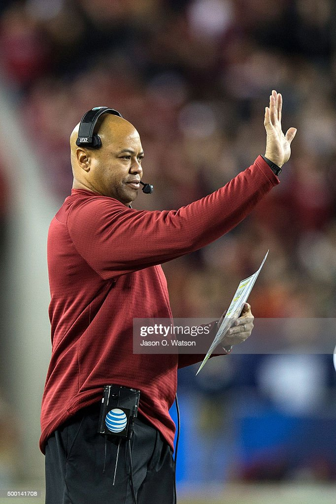 Head coach David Shaw of the Stanford Cardinal signals on the sidelines against the USC Trojans during the second quarter of the Pac12 Championship...