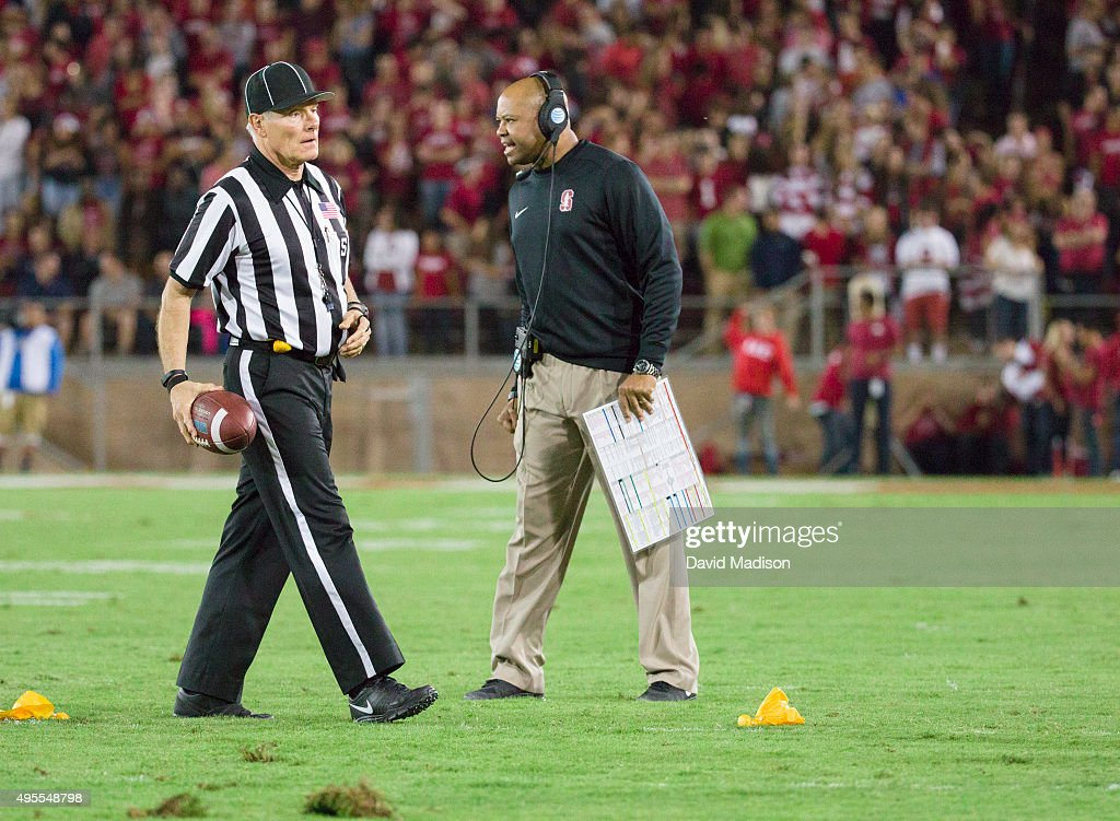 Head Coach <a gi-track='captionPersonalityLinkClicked' href=/galleries/search?phrase=David+Shaw+-+Amerikaans+football+coach&family=editorial&specificpeople=8769878 ng-click='$event.stopPropagation()'>David Shaw</a> of the Stanford Cardinal steps out onto the field after a penalty call during a PAC-12 football game against the UCLA Bruins on October 15, 2015 at Stanford Stadium on the campus of Stanford University in Palo Alto, California. Side Judge Mike Weseloh is at left.