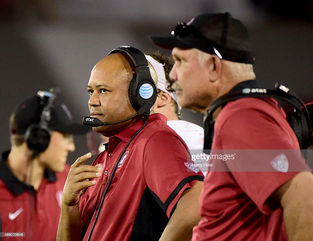 Head coach David Shaw of the Stanford Cardinal waits for a video review during the third quarter against the USC Trojans at Los Angeles Coliseum on...